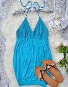 Włoska Italy Bluzka Top Sukienka Szydełkowa Niebieska Lazurowa ...