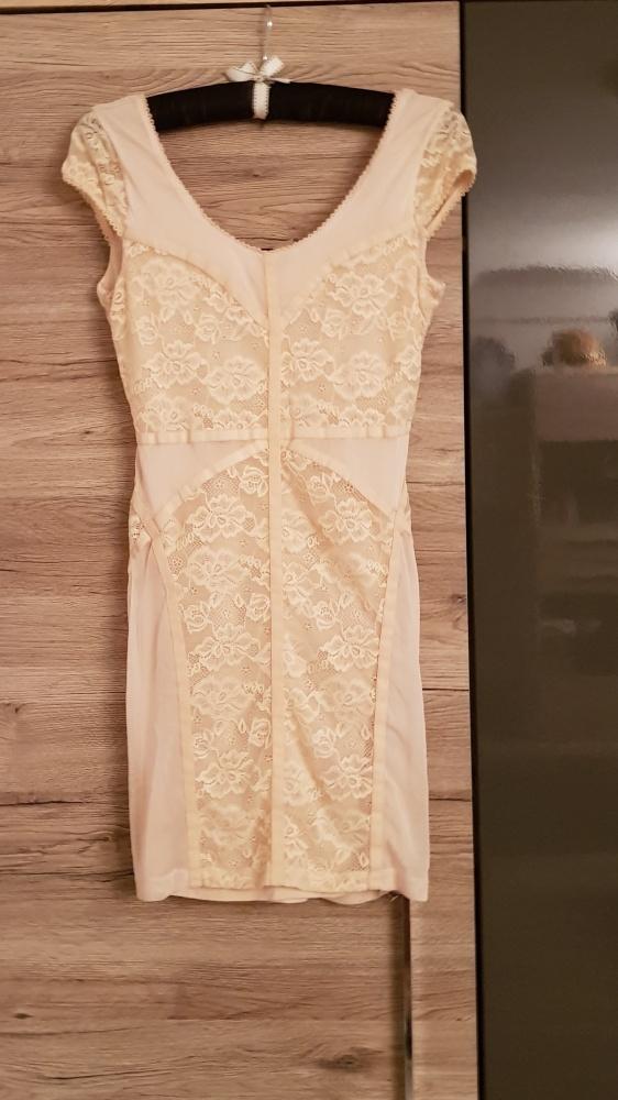 Sukienka H&M nude r M L koronka pudrowa