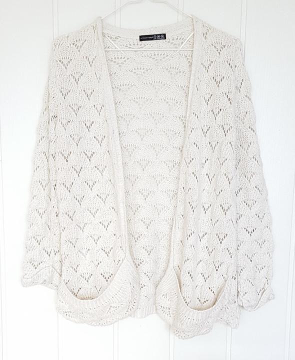 Swetry Kremowy sweter kardigan Atmosphere Primark 38 M złota nitka retro ażurowy