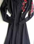 Czarna maxi sukienka czerwone kwiaty 42 44...