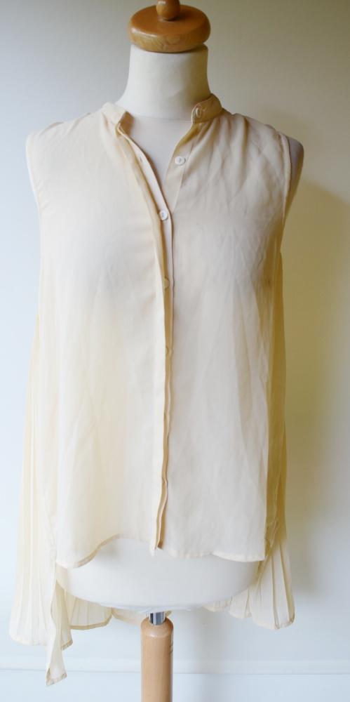 Koszule Koszula Kremowa Plisowana Dłuższy Tył S 36 Gina Tr