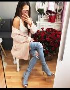 sexy kozaki wysokie jeans dzinsowe 36 obcas 11 cm jasne...
