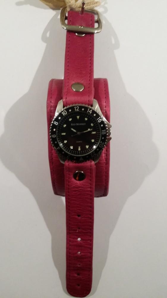 Nowy skórzany zegarek Red Monkey różowy