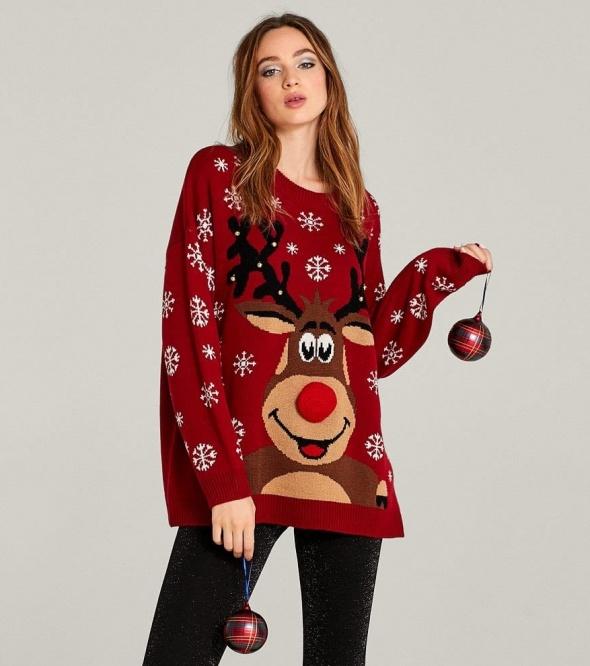 Nowy damski czerwony świąteczny sweter z reniferem Stradivarius