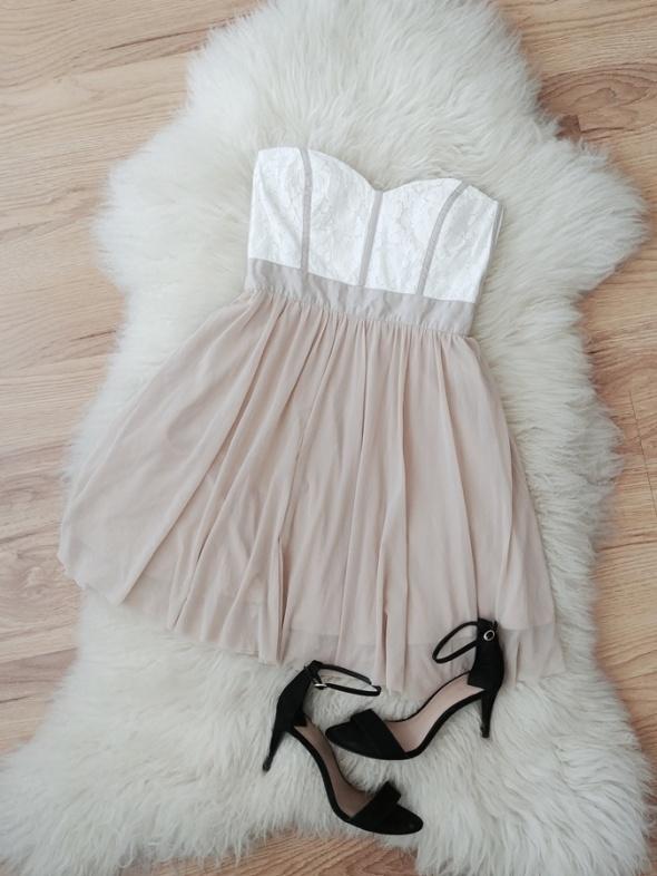 Asos beżowa biała rozkloszowana tiulowa gorsetowa sukienka bez ramiączek