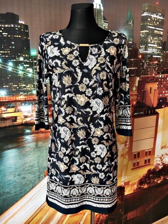 f&f sukienka modny wzór kwiaty mieniąca się na złoto 40 L...