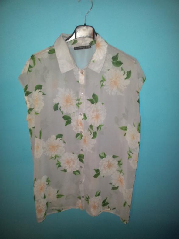 Szara koszula w kwiatki 38
