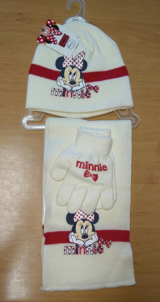 Nowy zimowy komplet czapka szalik rękawiczki Myszka MinnieMouse Disney