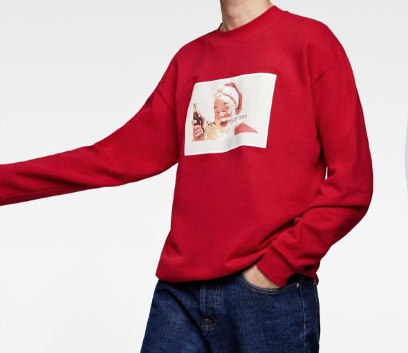 Zara nowa męska bluza z motywem świątecznym mikołaj Coca Cola rozmiar XL