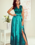 SALLY długa suknia z haftowanym dekoltem ZIELONA S M L XL...
