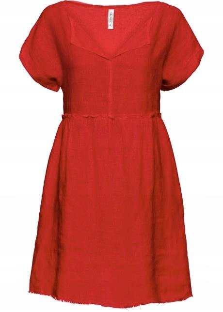 Czerwona lniana sukienka na lato