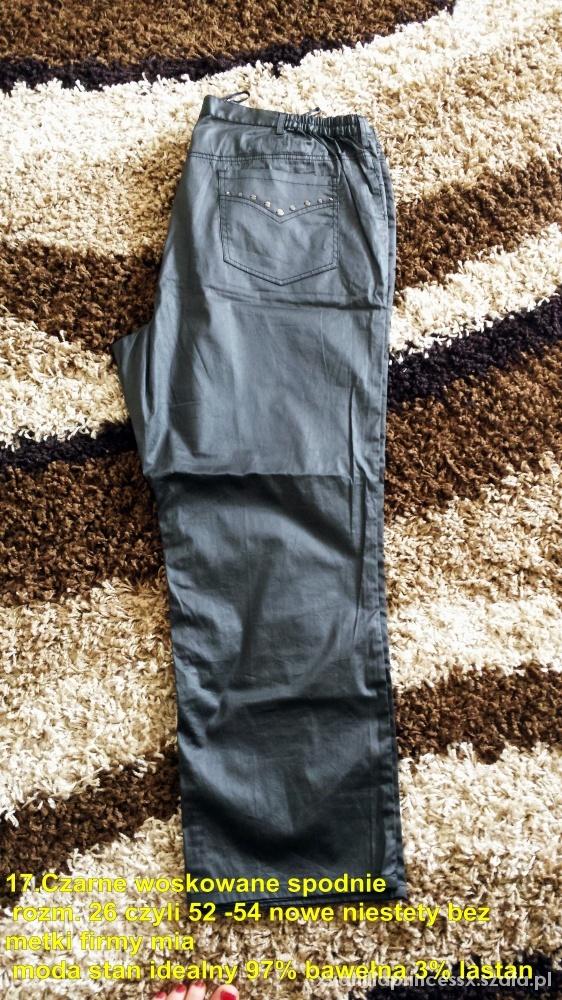 czarne woskowane spodnie 50 52 54 wysyłka gratis
