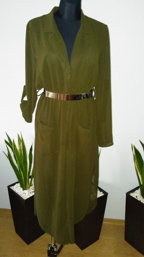 Sukienka koszulowa długa khaki