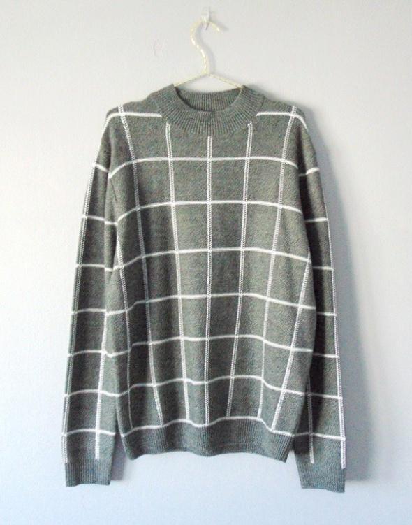 Reiss szary sweter w krate z domieszką wełny M...