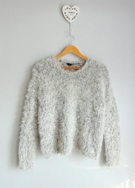 H&M puszysty szary sweter włochacz 38...