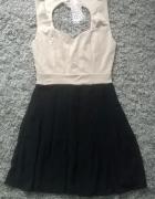sukienka beż czarna rozkloszowana M