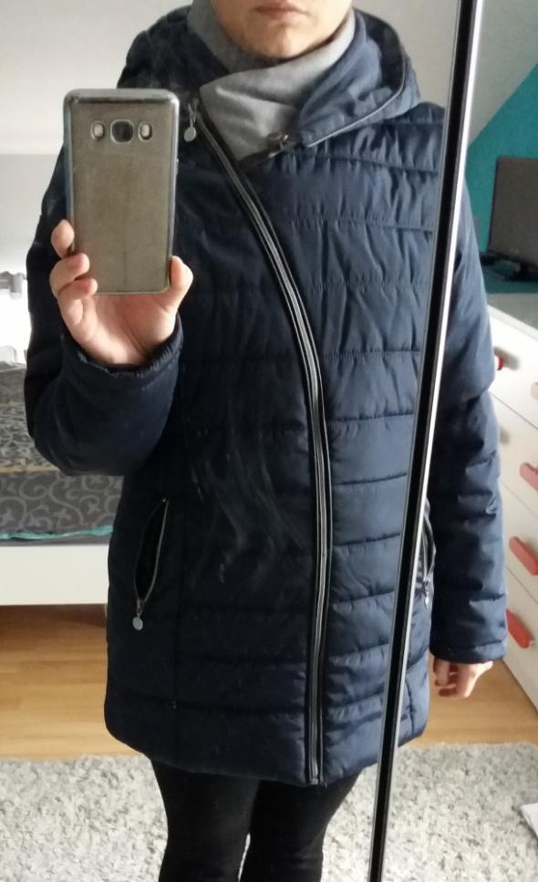 Granatowa długa kurtka zimowa XL