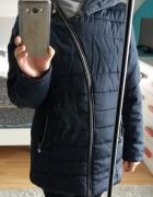 Granatowa długa kurtka zimowa XL...