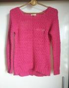 Różowy malinowy sweter asymetryczny Bershka XS...