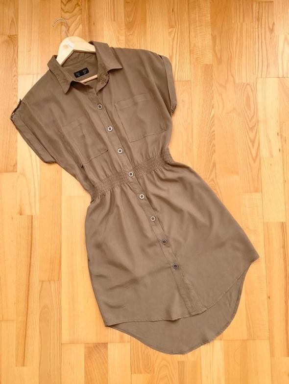Topshop militarna sukienka khaki pagony S