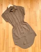 Topshop militarna sukienka khaki pagony S...