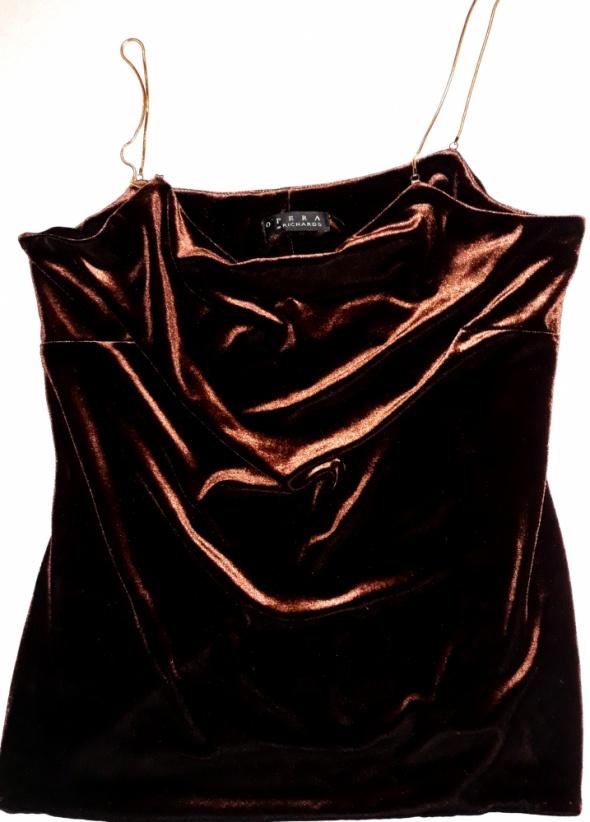 Aksamitna bluzka top złote cienkie ramiączka welur...