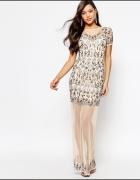 MISSGUIDED sukienka maxi zdobiona nowa 36