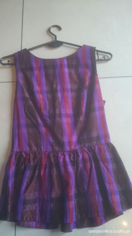 Bluzki Topshop bluzka z baskinką fioletowa w kratę zip