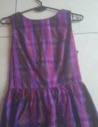 Topshop bluzka z baskinką fioletowa w kratę zip