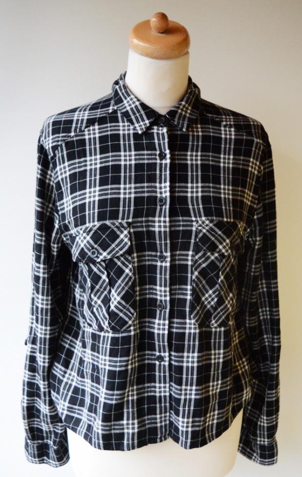 Koszula L 40 Kratka Marks&Spencer Czarna Biała Krata