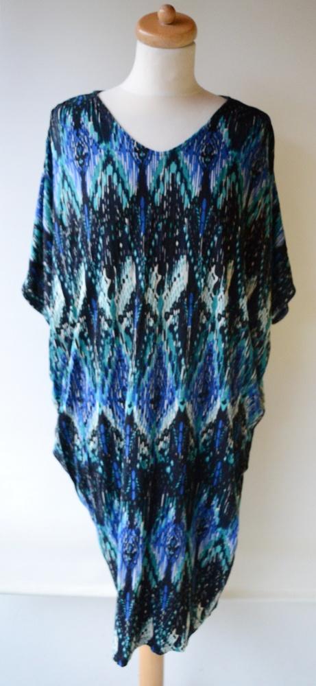 Suknie i sukienki Sukienka Wzory S M 36 38 Indiska Oversize Pawie Oczka