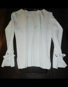 Sweterek bluzeczka biała ozdobne rekawy wiazane...
