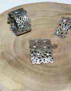 Komplet APART pierścionek kolczyki zawieszka ażurowy wzór srebr...