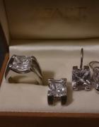 komplet APART pierścionek kolczyki zawieszka srebro 925 cyrkoni...