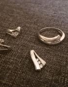 cudny komplet APART srebro 925 kolczyki pierścionek zawieszka c...