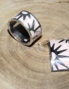 Komplet pierścionek wisiorek srebro masa perłowa róż