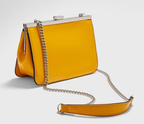 Nowa musztardowa torebka na łańcuszku Stradivarius