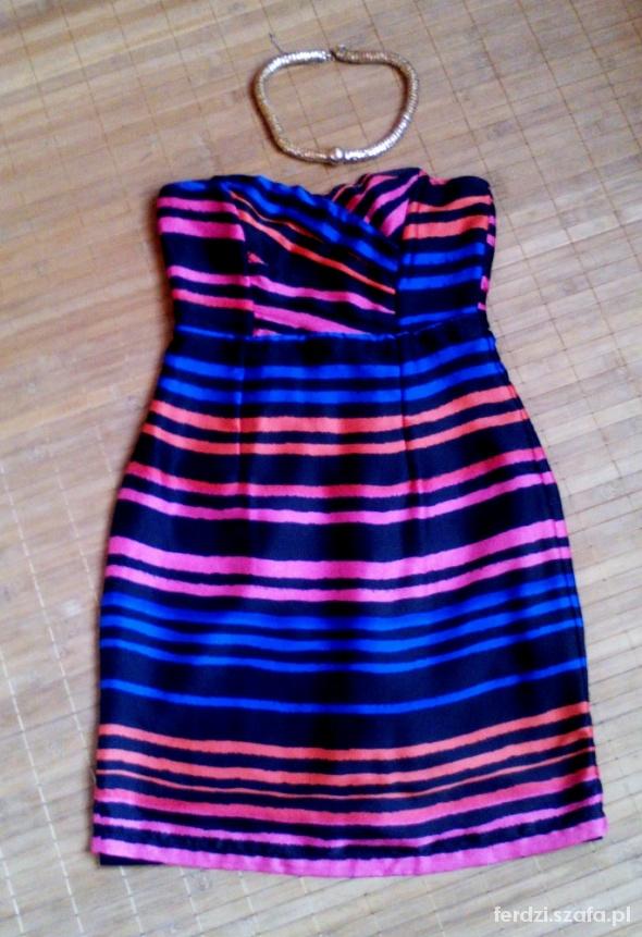 Sukienka kolorowe paseczki h&m