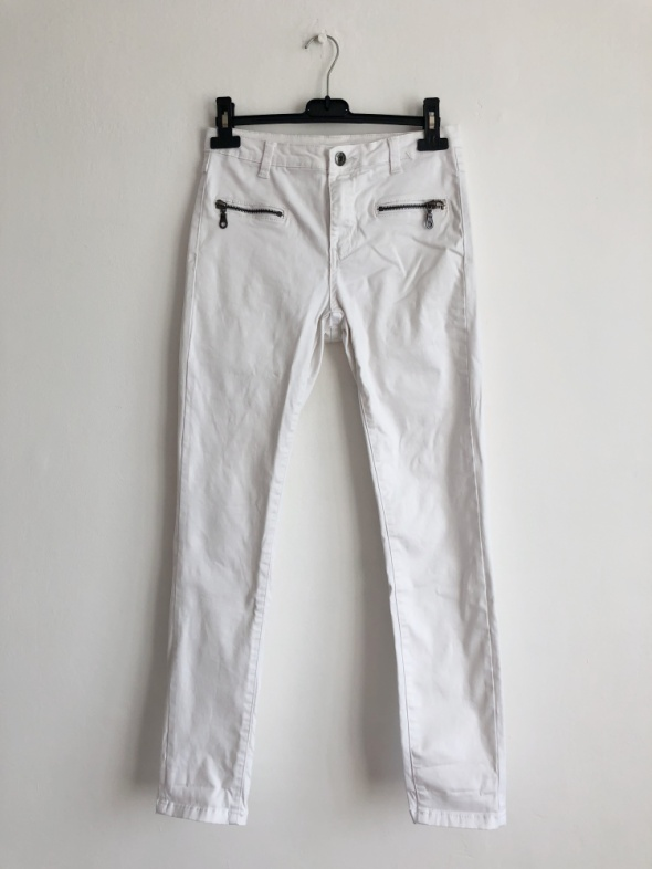 Vila białe spodnie rurki regular waist skinny