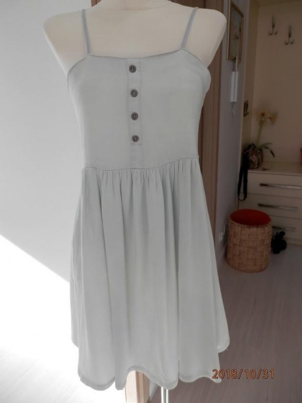 Sukienka Dżinsowa Jeansowa Błękitna Rozkloszowana Denim Co 36
