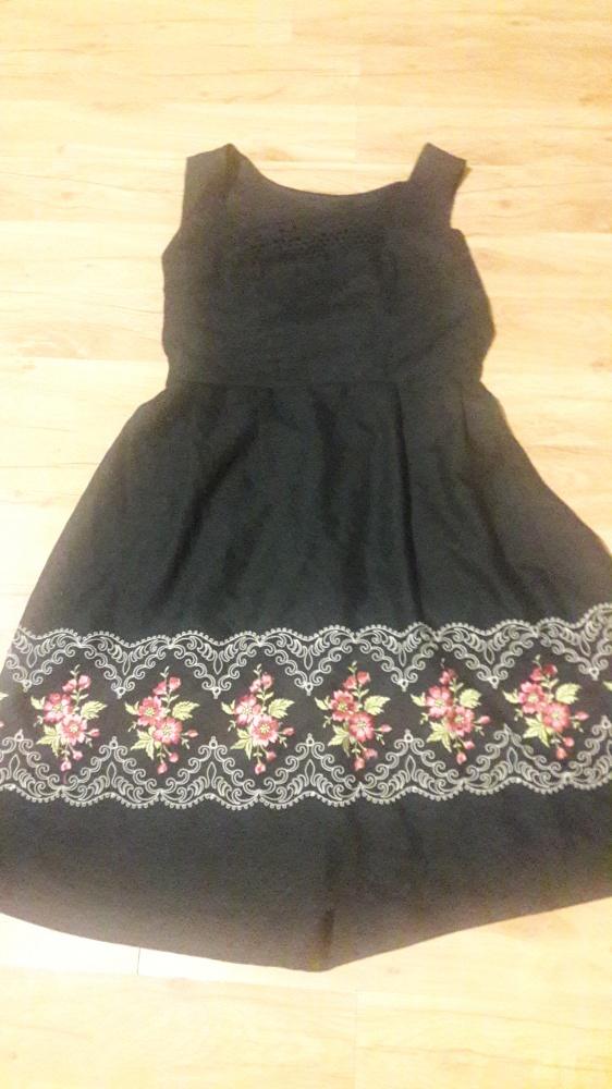 sukienka czarna kwiaty L XL
