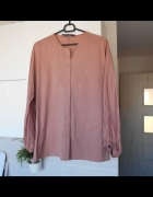 Zara pudrowa różowa koszula z popeliny bluzka bawełniana szerok...