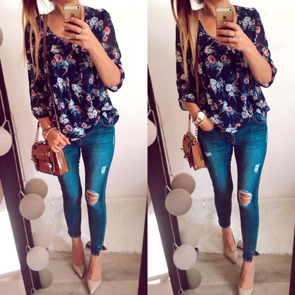 Bluzka Damska w kwiaty elegancka L