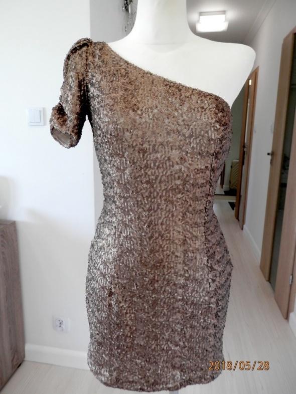 Sukienka New Look Złota Cekinowa Asymetryczna Dopasowana Wieczorowa Imprezowa M