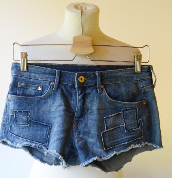 Spodenki Jeansowe Dzins H&M XS 34 Łatki Jeans...