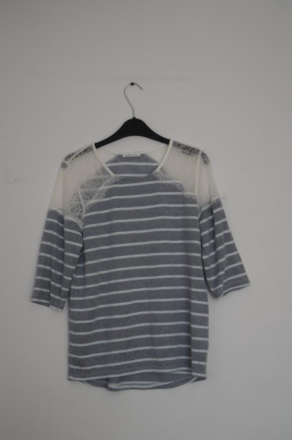 Szara bluzka w białe paski koronka rękaw 3 4 Promod rozmiar S M...