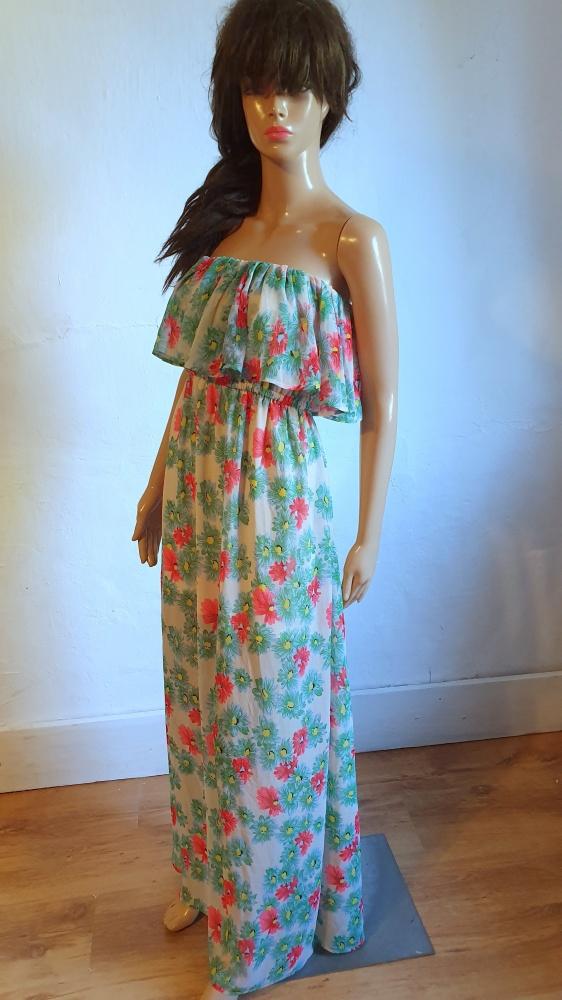 Zwiewna sukienka bez ramiączek r S