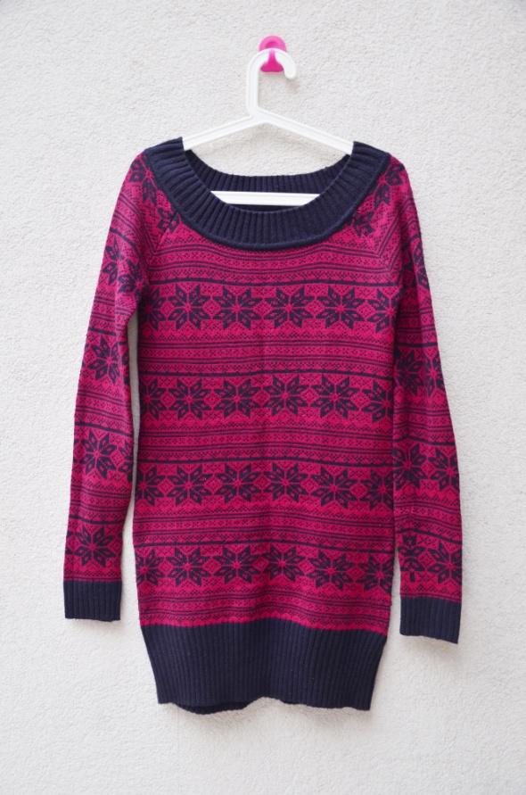 RESERVED stan idealny dłuższy sweter norweskie wz...