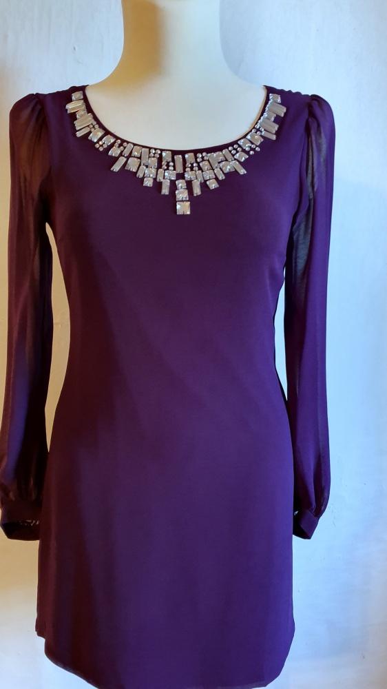Fioletowa sukienka na długi rękaw r 40...