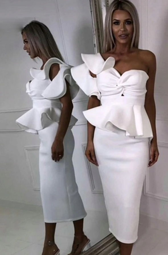 sexy biała sukienka dekold gorset 36 midi falbany baskinka...